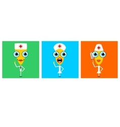 cartoon characters of doctor and nurses vector image