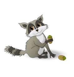 cartoon raccoon holding a nutlet vector image
