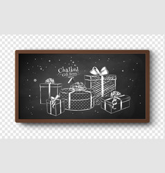 chalk drawn gift boxes vector image