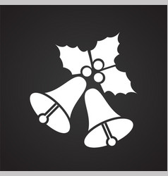 christmas bells with holly on black background vector image