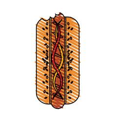 color crayon stripe cartoon front view hot dog vector image