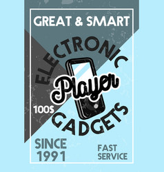 color vintage electronic gadgets banner vector image