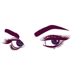 Colorful blue woman s eyes vector