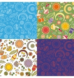 Colorful cheerful pattern with mushrooms vector image
