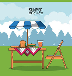 Colorful poster of summer picnic with outdoor vector