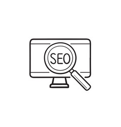 computer with seo hand drawn outline doodle icon vector image