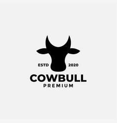 Cow head face silhouette black minimalist modern vector