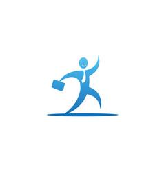 creative happy employee bag logo vector image