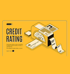Credit rating scoring isometric website vector