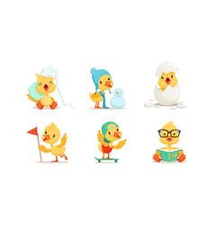 cute chicken character different activities set vector image