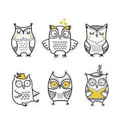 cute hand drawn owls set vector image