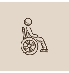Disabled person sketch icon vector