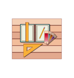 drawing tools and notebook over table top view in vector image