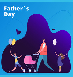 fathers day with man and kids vector image