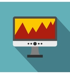 Financial chart the computer monitor icon vector