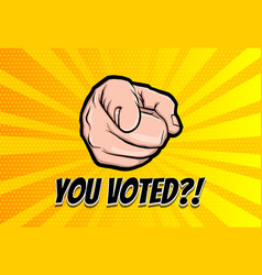 finger motivated to vote in usa 2020 vector image