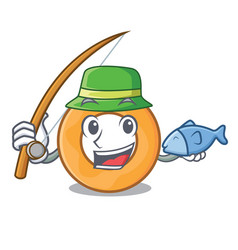 Fishing onion ring mascot cartoon vector