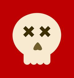 flat icon on background halloween emotion skull vector image