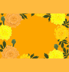 Frame orange and yellow marigold flowers vector