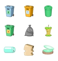 Garbage icons set cartoon style vector image