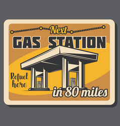 Gas station and fuel pump retro banner vector