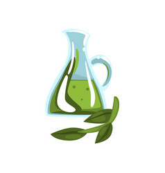 Glass jug with natural oil and green branch oil vector