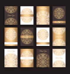 golden invitations set vector image