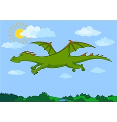Green fairy dragon flies in the blue sky vector