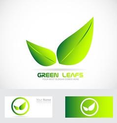 Green leafs bio logo vector image