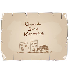 Green paper with corporate social responsibility c vector