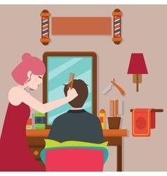 Hair stylist hairdresser salon haircut vector