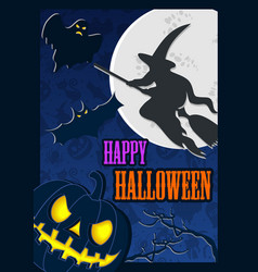 halloween poster with moon and scary flying witch vector image