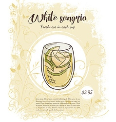 Hand drawn of drinks menu pages with cup of white vector