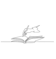 hand holding pen and writing in book continuous vector image