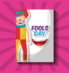 happy clown humor cartoon fools day card vector image