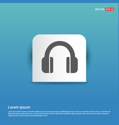 headphone icon - blue sticker button vector image