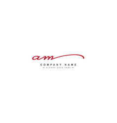 Initial letter am logo - hand drawn signature vector