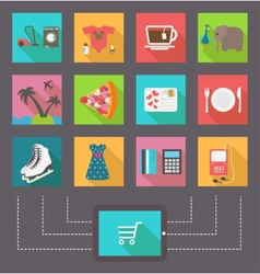 Internet shopping e-commerce activity icons vector
