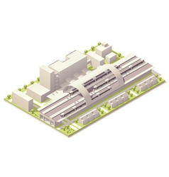 Isometric train station vector image