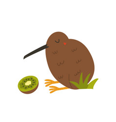 Kiwi bird and fruit isolated on white background vector
