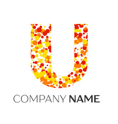 letter u logo with orange yellow red particles vector image