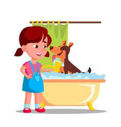 little cute girl washes a dog in the bathroom with vector image