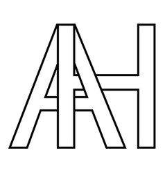 logo sign ah icon sign two interlaced letters a h vector image