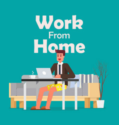 man working on a laptop from home vector image
