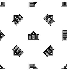 mansion pattern seamless black vector image