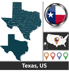 Map texas us vector