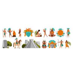 maya civilization set vector image
