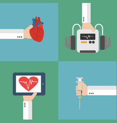 Medical heart therapy flat design set vector