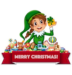 Merry Christmas sign with elf and toys vector image
