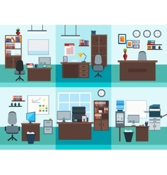 Office Interior Icon Set vector image